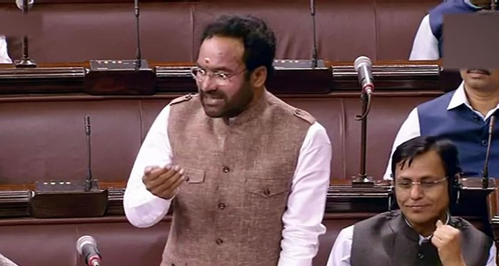Union Minister of State for Home G Kishan Reddy speaks in the Rajya Sabha during the ongoing Winter Session of Parliament, in New Delhi on Wednesday. (RSTV/PTI Photo)