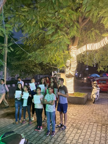 A few children of Indiranagar went out with appeal letters to get fairy lights removed.