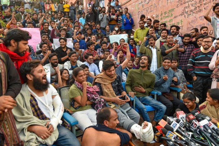 JNU students in the middle of the protest. (PTI file photo)