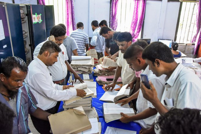 Applicants submit their appeals after the release of final NRC list at an election office, in Tezpur, Tuesday, Sept 3, 2019. (PTI Photo)