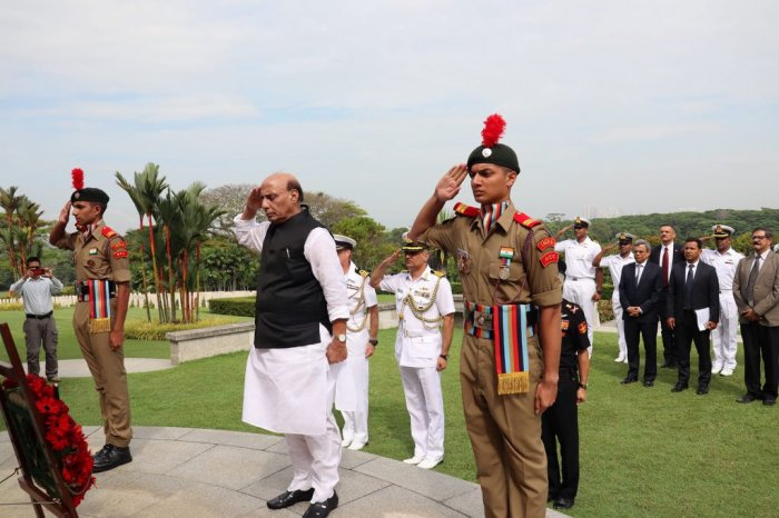 The defence minister arrived here on Monday night on a two-day visit. Photo/Twitter (@rajnathsingh)