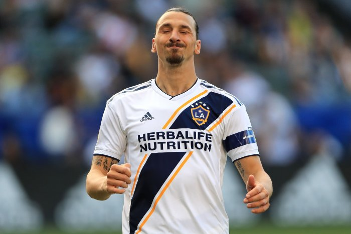 Zlatan Ibrahimovic #9 of Los Angeles Galaxy looks during the first half of a game against the Real Salt Lake at Dignity Health Sports Park. (AFP Photo)