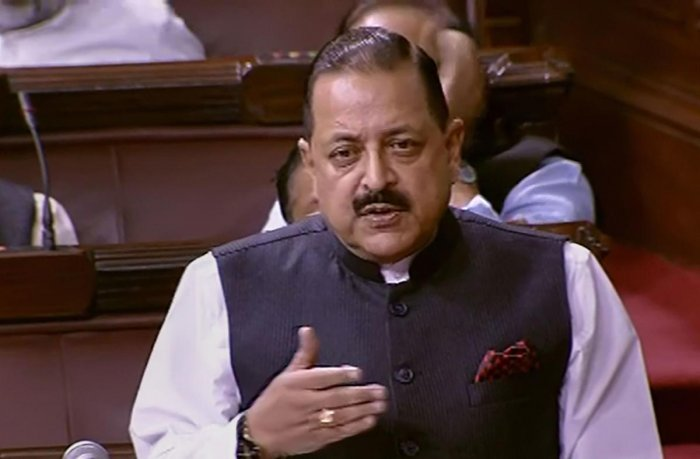 Union Minister Jitendra Singh speaks in the Rajya Sabha during the ongoing Winter Session of Parliament, in New Delhi, Thursday, Nov. 21, 2019. (RSTV/PTI Photo)
