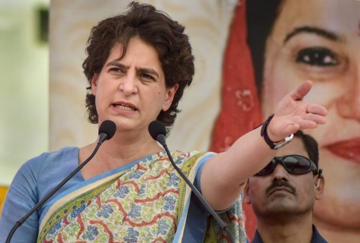 """""""About 35 lakh jobs have been lost in the construction sector. The big IT companies are about to end about 40 lakh jobs,"""" Congress leader Priyanka Gandhi Vadra claimed. Photo/PTI"""