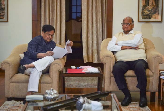 Nationalist Congress Party (NCP) chief Sharad Pawar and senior Congress leader Ahmed Patel during a meeting regarding government formation in Maharashtra. (PTI Photo)