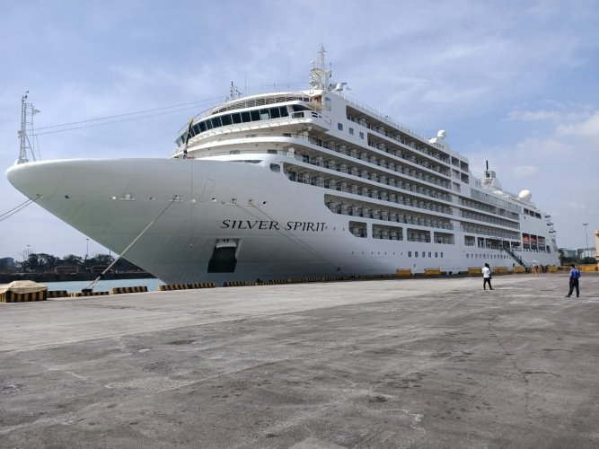 The vessel arrived from Mormugao Port, Goa. From Mangaluru it will be sailing to Kochi.