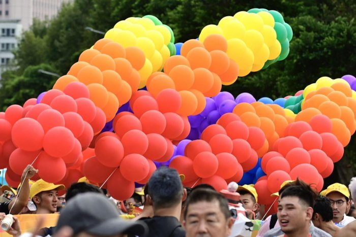 Rainbow coloured balloons are seen as participants take part in the annual gay pride parade. (AFP File Photo)