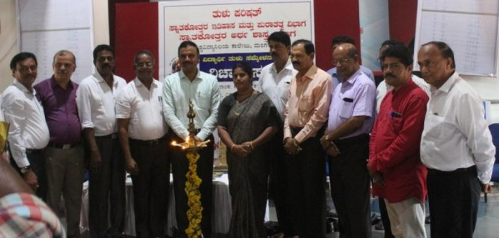 Mangalore University Registrar Prof A M Khan and others during the inauguration of a seminar on history tradition and economical background of Tulunadu at University College in Mangaluru.