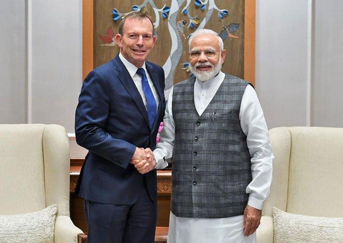 Former prime minister of Australia Tony Abbott calls on Prime Minister Narendra Modi in New Delhi, Wednesday, Nov. 20, 2019. (Twitter/PTI Photo)