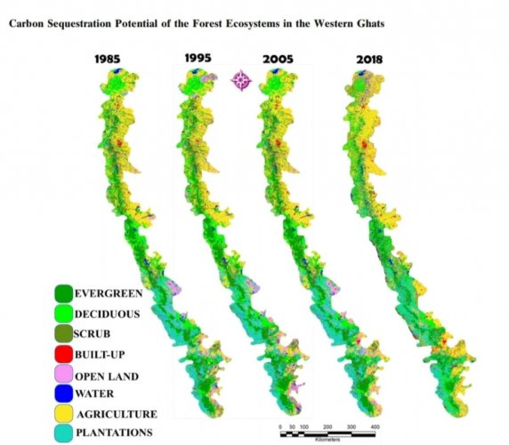 Map showing depleting evergreen forest cover in Western Ghats.
