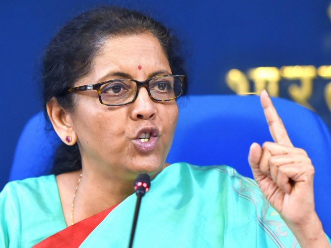 Union Finance Minister Nirmala Sitharaman addresses the media after a Cabinet meeting in New Delhi on Wednesday. PTI