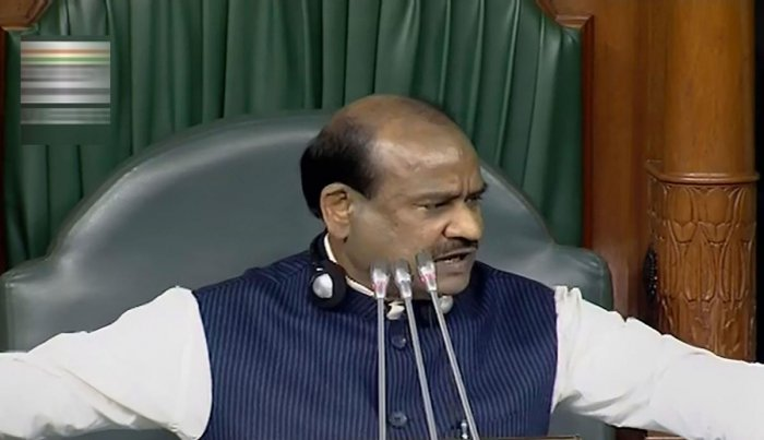 Speaker Om Birla conducts proceedings in the Lok Sabha during the Winter Session of Parliament, in New Delhi. (PTI Photo)
