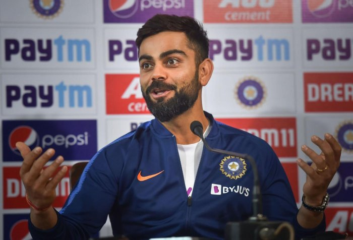 Indian captain Virat Kohli addresses a press conference on the eve of the 1st pink-ball day/night cricket test match against Bangladesh at Eden Garden in Kolkata. (PTI Photo)