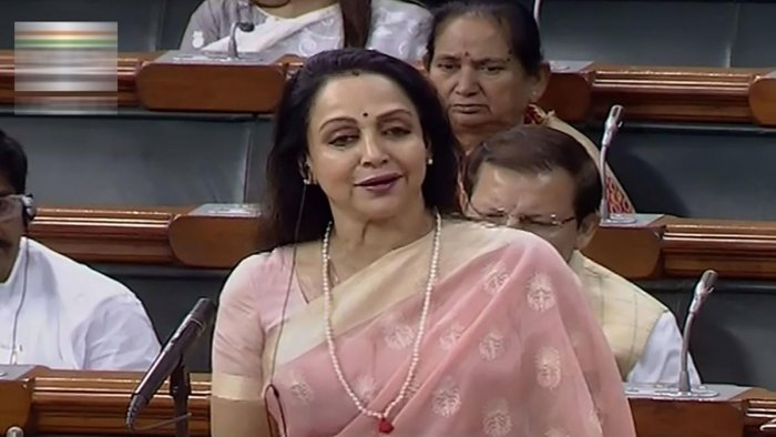 BJP MP Hema Malini speaks in the Lok Sabha during the Winter Session of Parliament. PTI