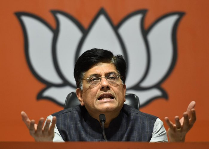 Union Minister Piyush Goyal addresses a press conference over the issue of electoral bonds. PTI
