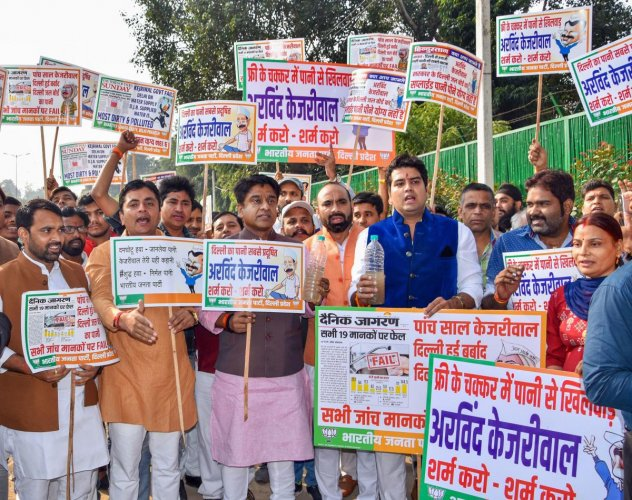 Delhi BJP stage protest over water quality (PTI photo)