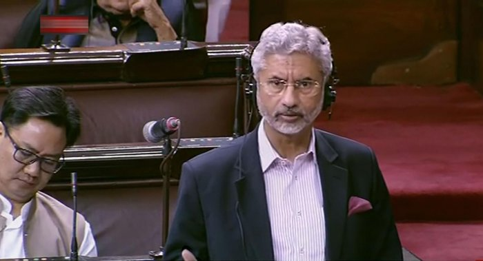 External Affairs Minister S Jaishankar speaks in the Rajya Sabha during the ongoing Winter Session of Parliament. PTI