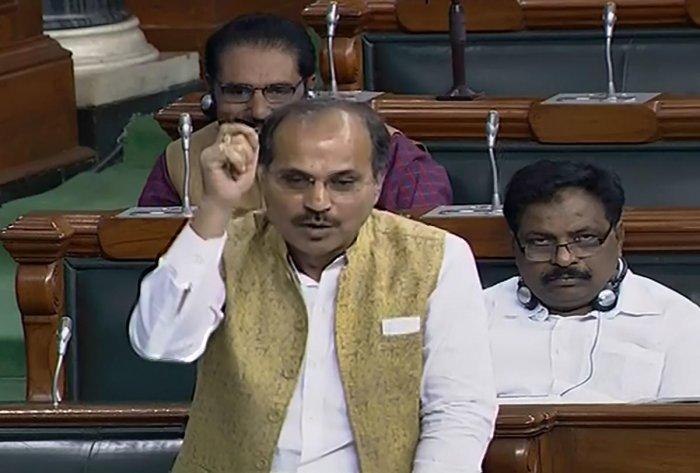Leader of Congress in Lok Sabha Adhir Ranjan Chowdhury speaks in the House during the Winter Session of Parliament