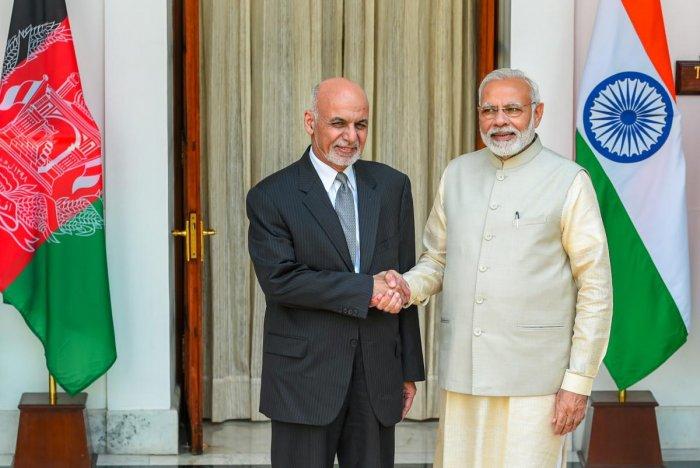 Prime Minister Narendra Modi (R) and Afghanistan President Ashraf Ghani. (PTI file photo)