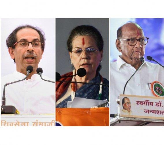 Shiv Sena chief Uddhav Thackeray, Congress president Sonia Gandhi and NCP chief Sharad Pawar. (DH photo)
