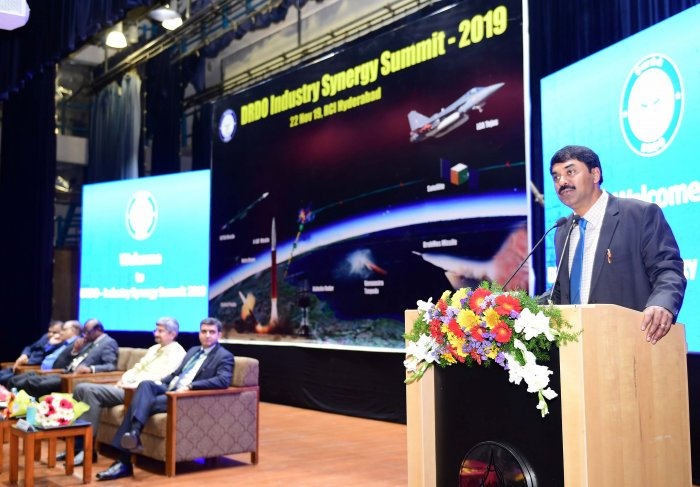 Dr G. Satheesh Reddy, Chairman, DRDO and Secretary DD (R&D) Delivering the inaugral address at the DRDO Industry Energy Summit. (DH Photo)