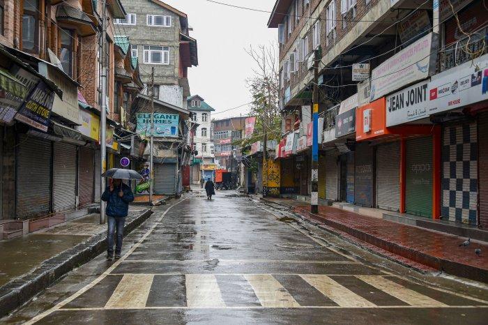 A deserted view of a market during shutdown, in Srinagar. (PTI Photo)