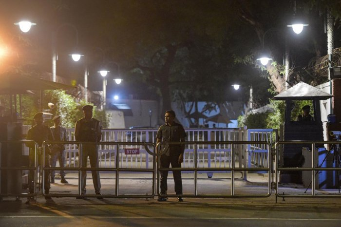 SPG and CRPF personnel stand guard at the residence of Congress President Sonia Gandhi, in New Delhi, Friday, Nov. 8, 2019. (PTI Photo)
