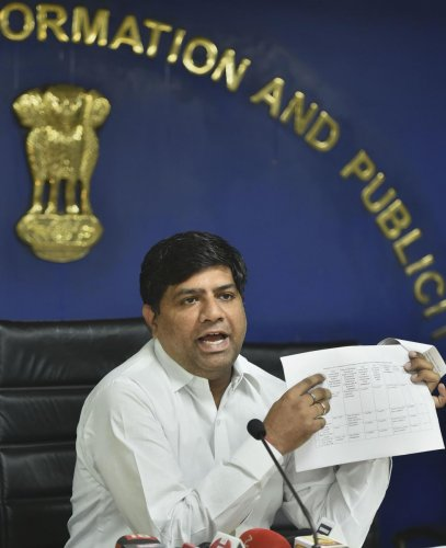 Delhi Jal Board (DJB) Vice Chairman Dinesh Mohaniya addresses the media on the issue of water quality report, in New Delhi. (PTI Photo)