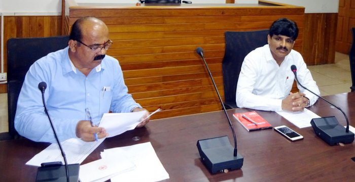 Udupi Deputy Commissioner G Jagadeesh addresses officials of the Tourism Department at a meeting held at his office in Manipal on Thursday.