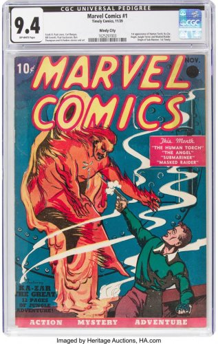 Heritage Auctions shows a copy of Marvel Comics No. 1, the 1939 comic book considered the 'Big Bang' of the Marvel Comics Superhero Universe. (Photo by AFP)