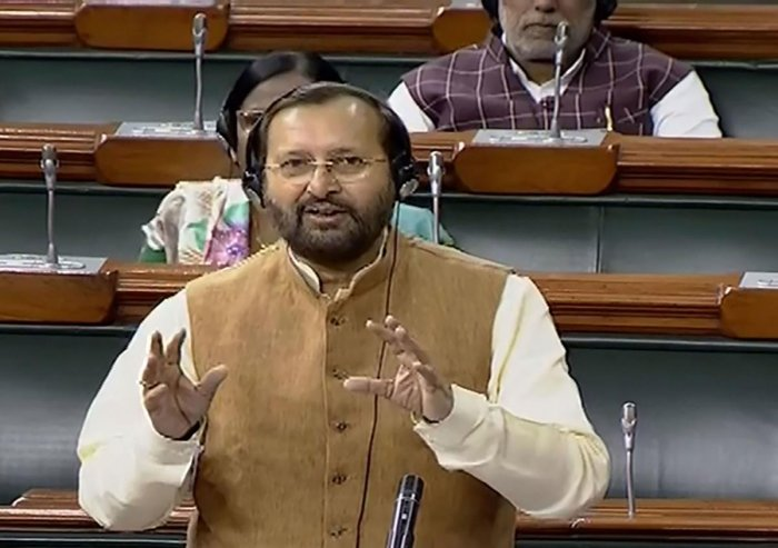 Environment Minister Prakash Javadekar speaks in the Lok Sabha during the Winter Session of Parliament, in New Delhi. (PTI Photo)