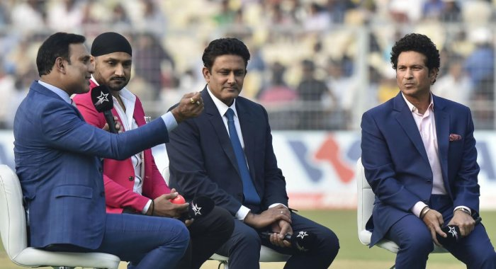 Legendary cricketers (from right) Sachin Tendulkar, Anil Kumble, Harbhajan Singh and VVS Laxman in a mid-pitch conference on the opening day of the first-ever pink ball Test at the Eden Gardens in Kolkata on Friday. PTI
