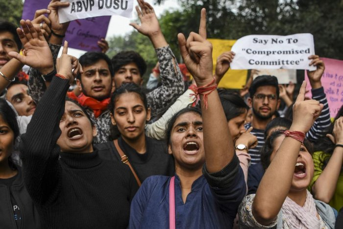 """""""We made it clear to them that we are not going to accept any increase in the hostel fee. There should be one fee for all category of students here,"""" saidJNU Students Union (JNUSU) president Aishe Ghosh. Photo/PTI"""