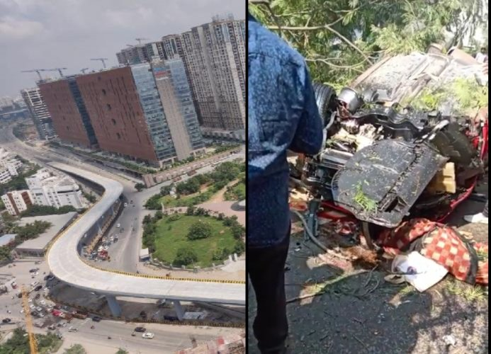 Police said the car was zipping past at a speed between 100 and 120 km at the time of the accident.Police also believe that there is an engineering defect in the flyover design.