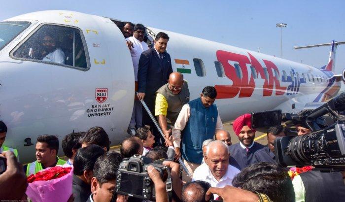 Chief Minister B S Yediyurappa, P Muralidhar Rao and other leaders alighting a flight in Kalaburagi on Friday.