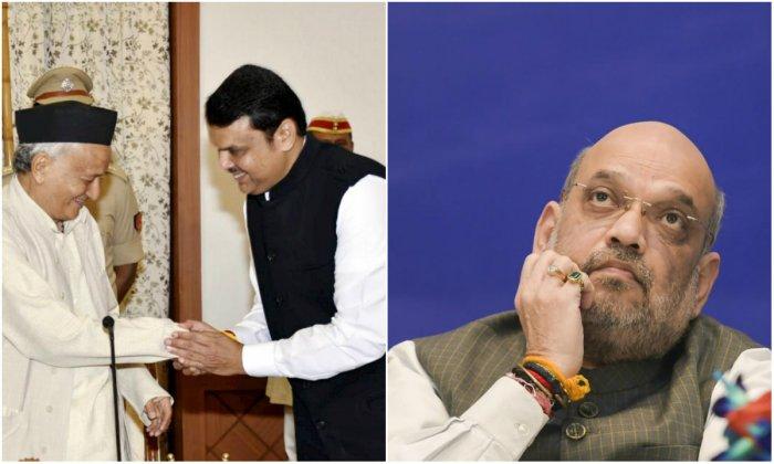 Governor Bhagat Singh Koshyari administered the oath to Fadnavis and Pawar at the Raj Bhavan in Mumbai at around 7.30 am. (PTI Photos)