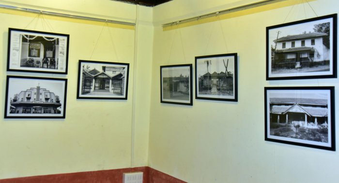 Photographs of buildings in Mangaluru displayed at exhibition 'Tracing the Roots' at Kodial Guthu (West), Ballalbagh.