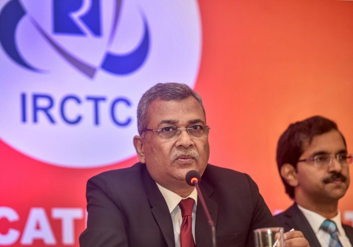 Chairman & Managing Director of Indian Railway Catering and Tourism Corporation Ltd.(IRCTC) Mahendra Pratap Mall speaks during a press conference for the launch of the company's IPO. (PTI Photo)