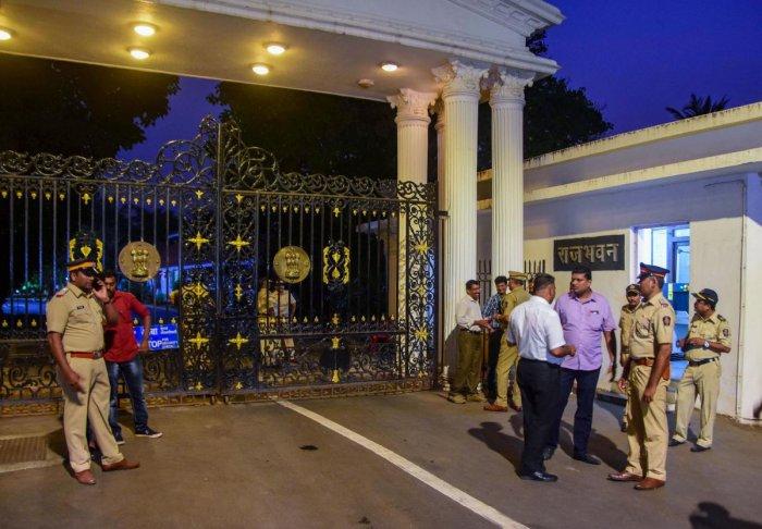 Security outside Raj Bhawan in Mumbai. (PTI Photo)