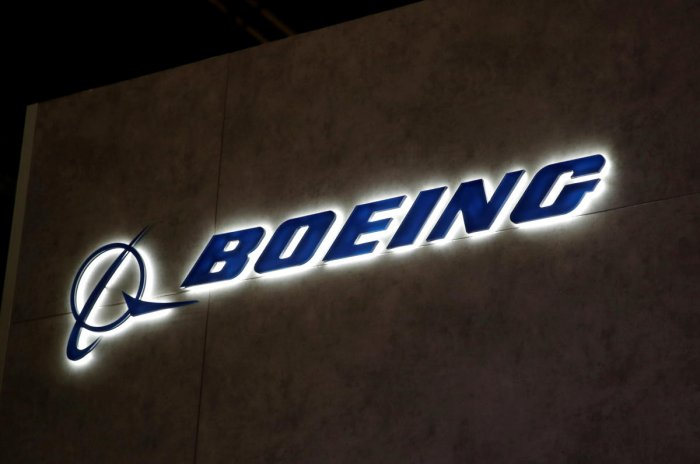 A Boeing logo pictured during the European Business Aviation Convention & Exhibition (EBACE) at Geneva Airport, Switzerland. (Reuters Photo)