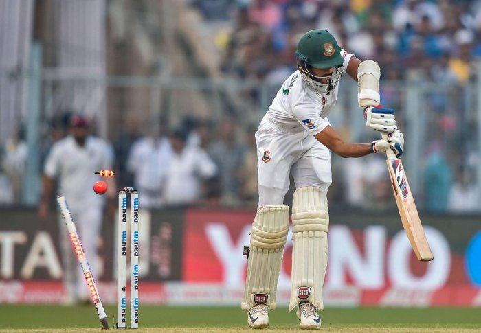 Bangladeshi batsman Md Nayeem Hasan bowled out by Indian bowler Ishant Sharma (unseen) during the 1st pink-ball day/night cricket test match between India and Bangladesh. (PTI Photo