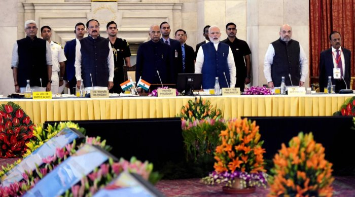 President Ram Nath Kovind, Vice-President Venkaiah Naidu, Prime Minister Narendra Modi and Home Minister Amit Shah at the '50th Conference of Governors and Lt Governors', at Rashtrapati Bhavan in New Delhi. Also seen are National Security Advisor Ajit Doval and Jal Shakti Minister Gajendra Singh Shekhawat. (PTI Photo)