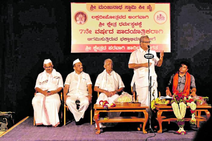 Shri Kshetra Dharmasthala Dharmadhikari Dr D Veerendra Heggade speaks at the inauguration of week-long Lakshadeepotsava celebrations at Sri Manjunatheshwara Temple in Dharmasthala on Friday night.