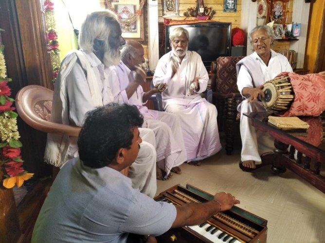 Yakshagana artistes of Kabballi during a practice session. Photo/Shrinidhi Adiga