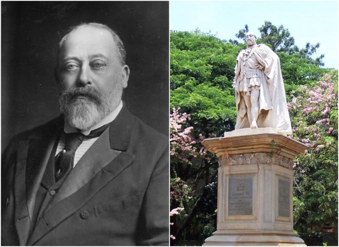 Some of Edward VII's (L) nicknames were Bertie, Edward the Caresser and Uncle of Europe. The statue of King Edward VII in Cubbon Park. (R)