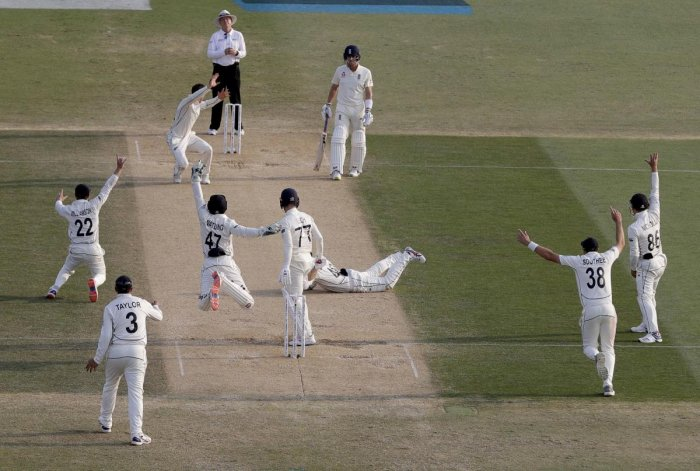 New Zealand players celebrate the dismissal of England's Jack Leach, 77, during play on day four of the first cricket test between England and New Zealand at Bay Oval in Mount Maunganui, New Zealand, Sunday, Nov. 24, 2019. (AP/PTI)