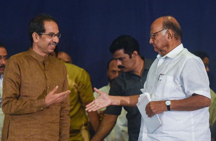 NCP President Sharad Pawar and Shiv Sena Chief Uddhav Thackeray. (PTI Photo)