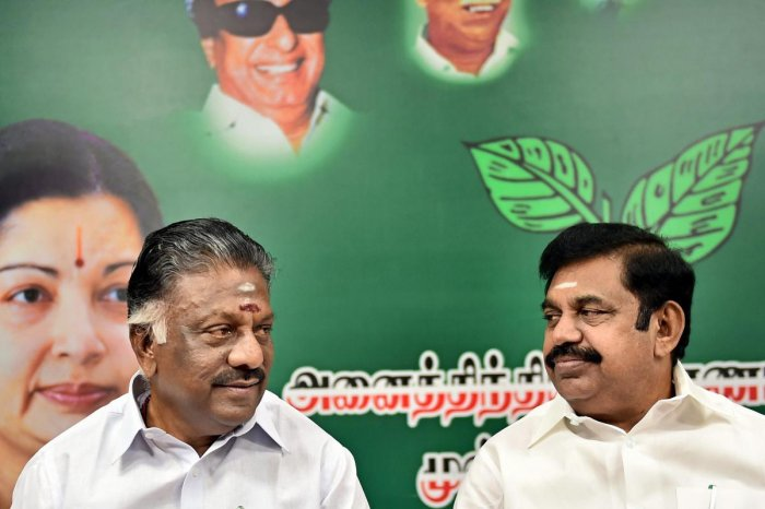 Tamil Nadu Chief Minister E Palanisamy (EPS) and Deputy Chief Minister O Panneerselvam (OPS). (PTI Photo)