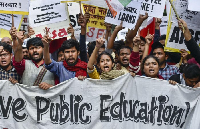 Jawaharlal Nehru University (JNU) President Aishe Ghose leads the protestors against the hostel and mess fee hike, in New Delhi. (PTI Photo)