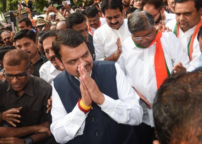 Newly sworn-in Maharashtra Chief Minister Devendra Fadnavis arrives at state's BJP office. (PTI Photo)